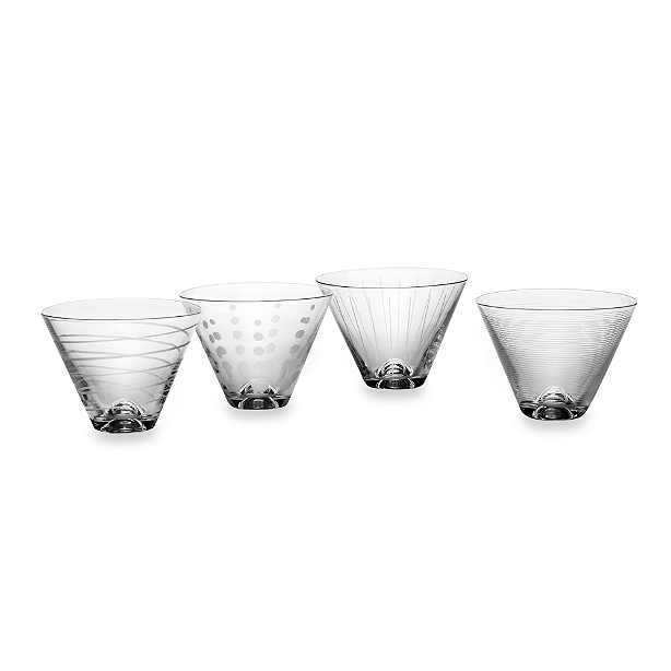 Cheers Stemless Martini Glasses - Dessert Coupe Set of 4