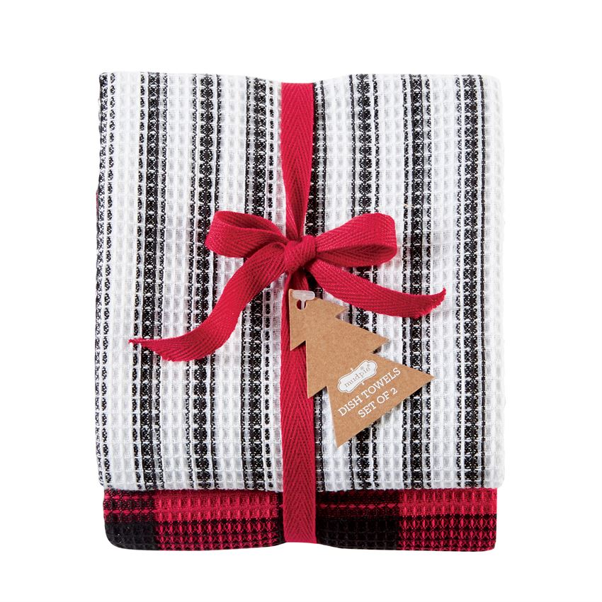 Black Stripe Buffalo Check Dish Towel Set
