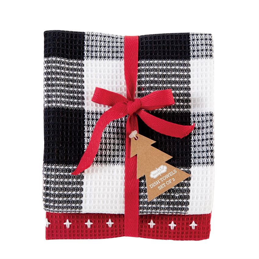 Red Stitch Buffalo Check Dish Towel Set