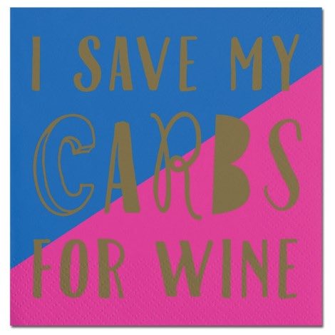 Cocktail Napkins | Carbs for Wine 20pk