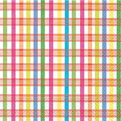 Cocktail Napkins - Checked Pattern 20pk
