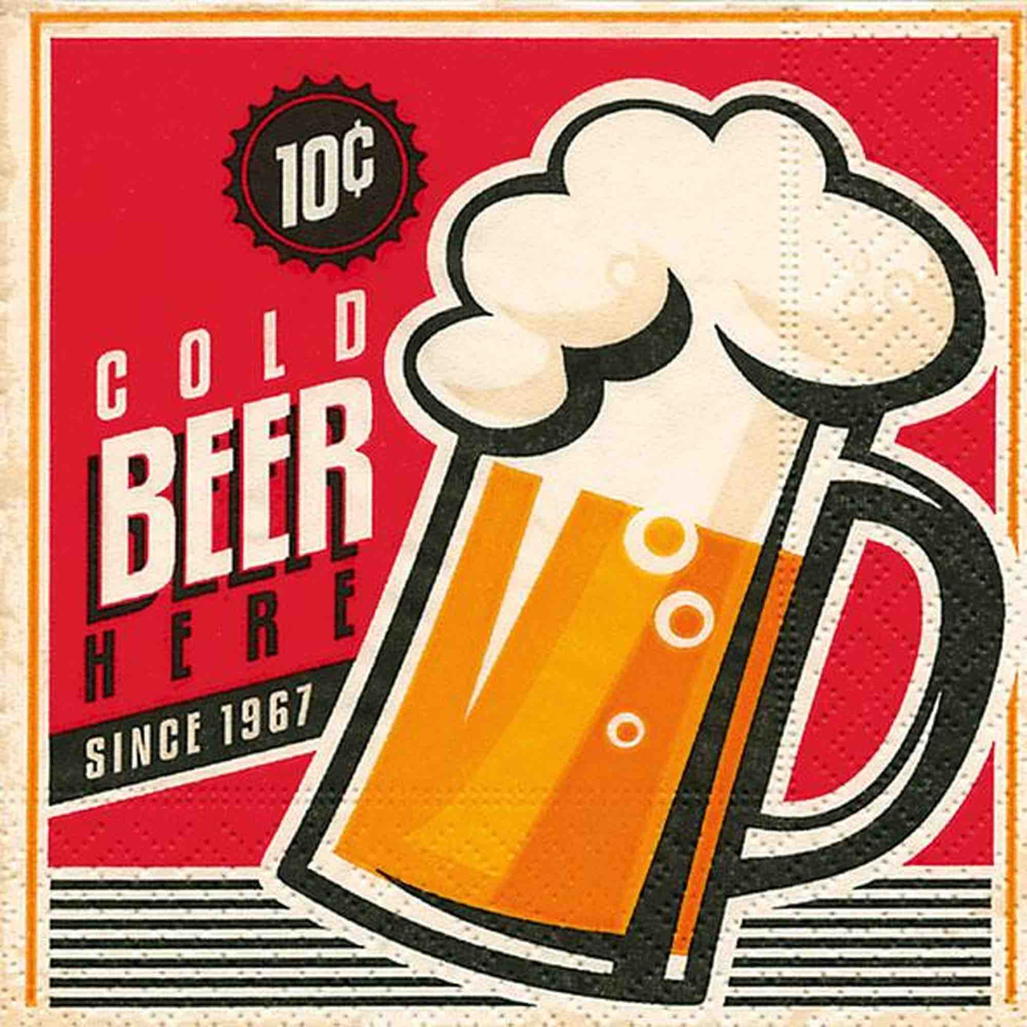 Cocktail Napkins - Cold Beer 20pk