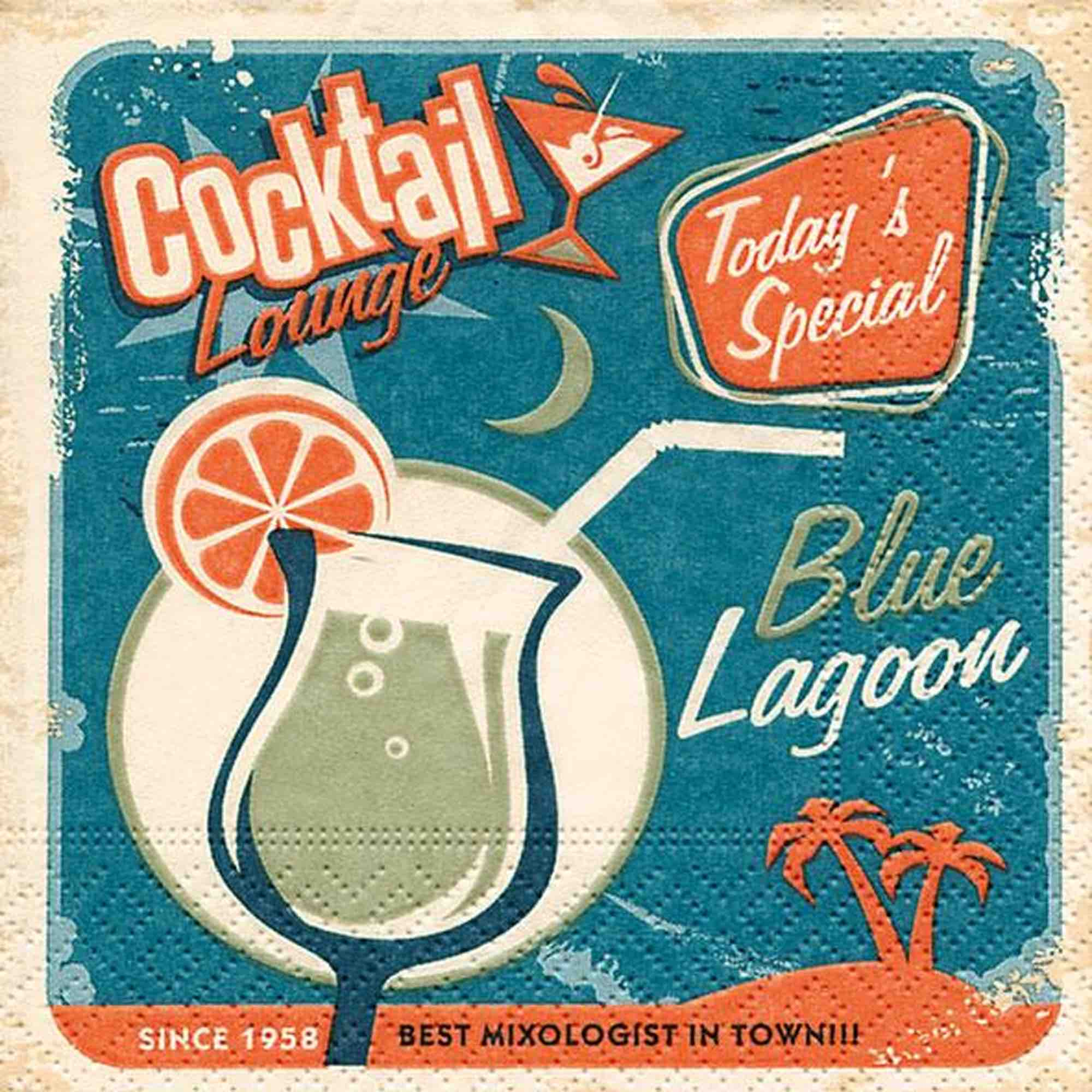 Cocktail Napkins - Blue Lagoon 20pk