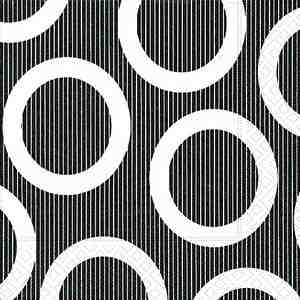 Cocktail Napkins - Circle Black 20pk