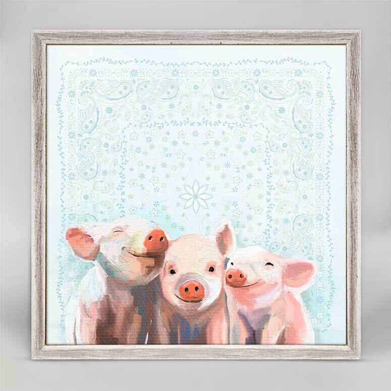 Framed Canvas | Three Little Piggies Bandana by Cathy Walters