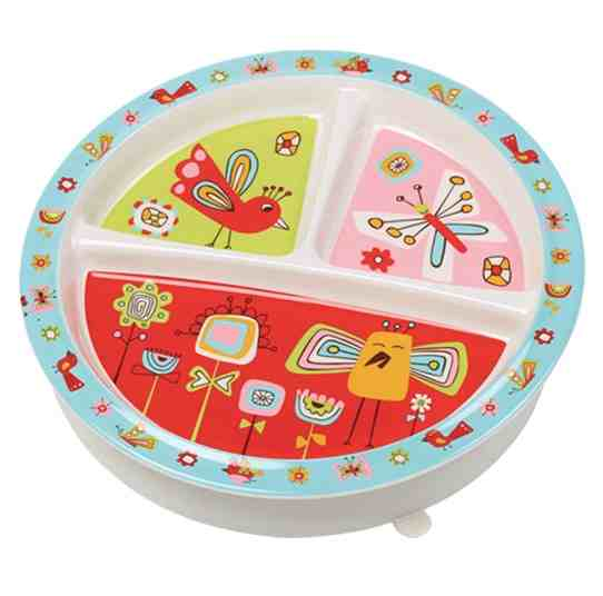 Sugar Booger Birds & Butterflies Divided Suction Plate