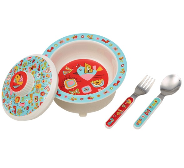 Sugar Booger Birds & Butterflies Melamine Covered Bowl Set
