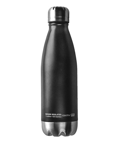 Central Park Insulated Water Bottle | Black & Silver 17oz