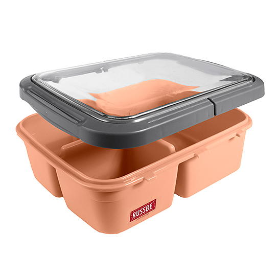 Russbe Trinity 3 Compartment Bento Lunch Box | Peach