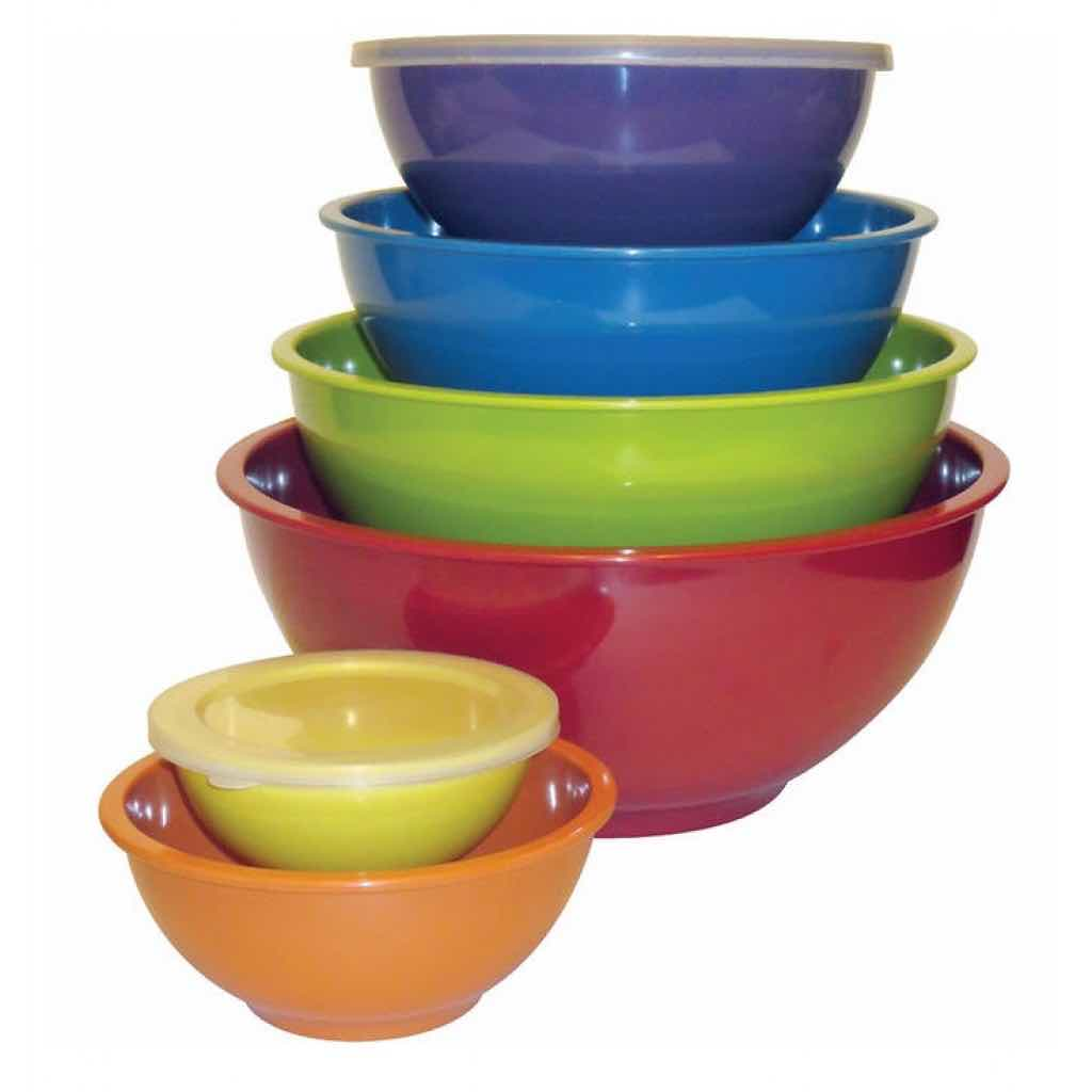 12pc Melamine Mixing Bowl Set | 6 Bowls with Lids