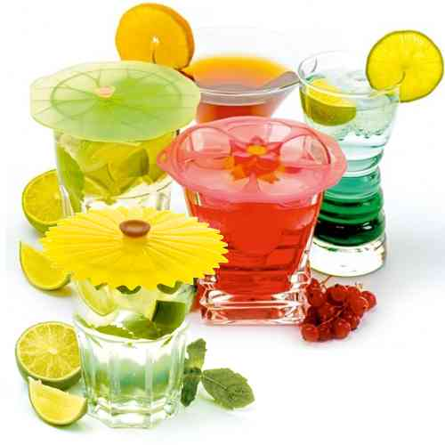 Hibiscus Silicone Drink Covers/X-Small Lids | Set of 2