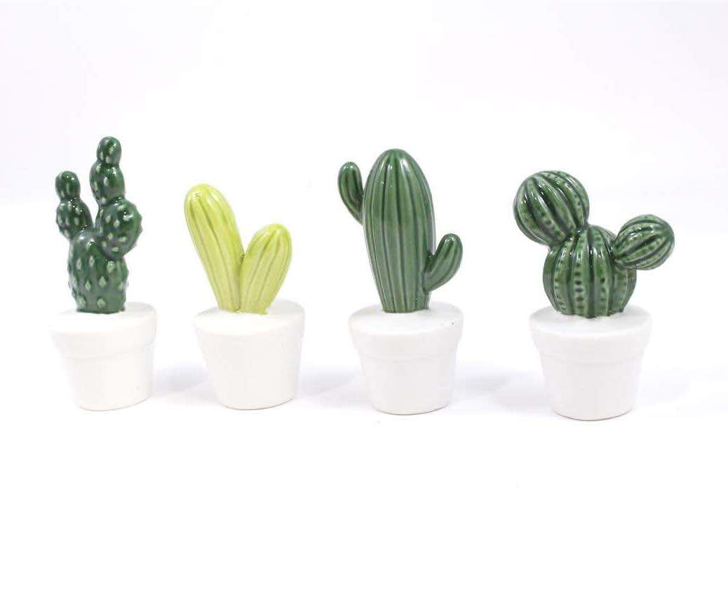 Mini Porcelain Cactus in White Pot