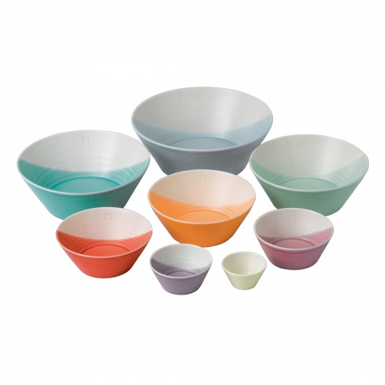 Royal Doulton 1815 Dinnerware Bright 8pc Nesting Bowl Set