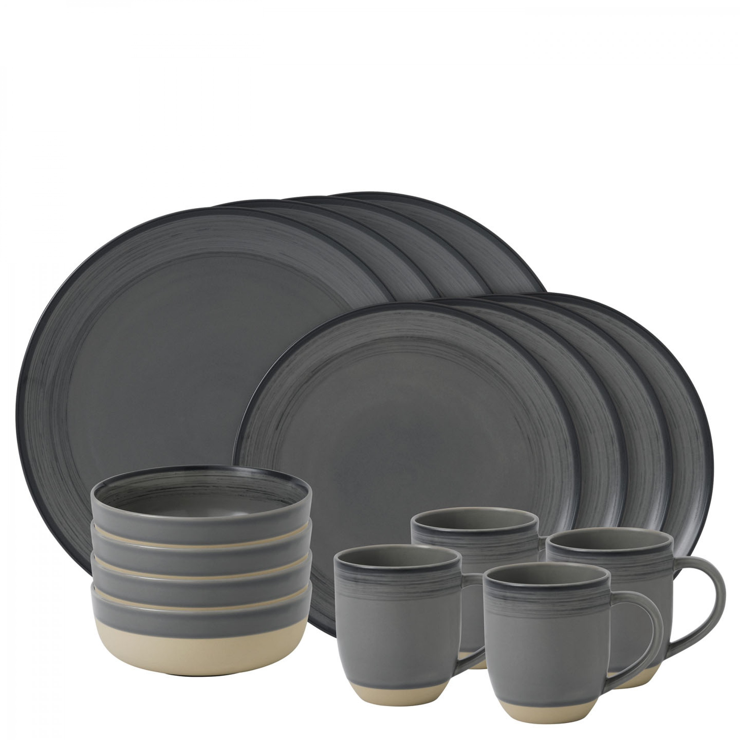 ED Brushed Glaze Charcoal Grey Dinnerware | 16pc Box Set