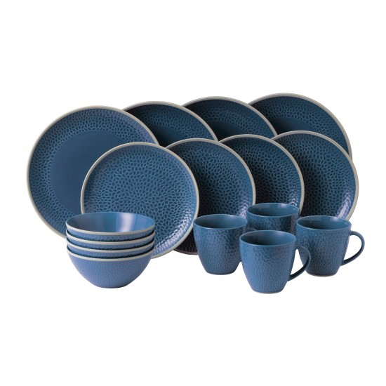 Gordon Ramsay MAZE GRILL Hammer Blue 16pc Dinnerware Set
