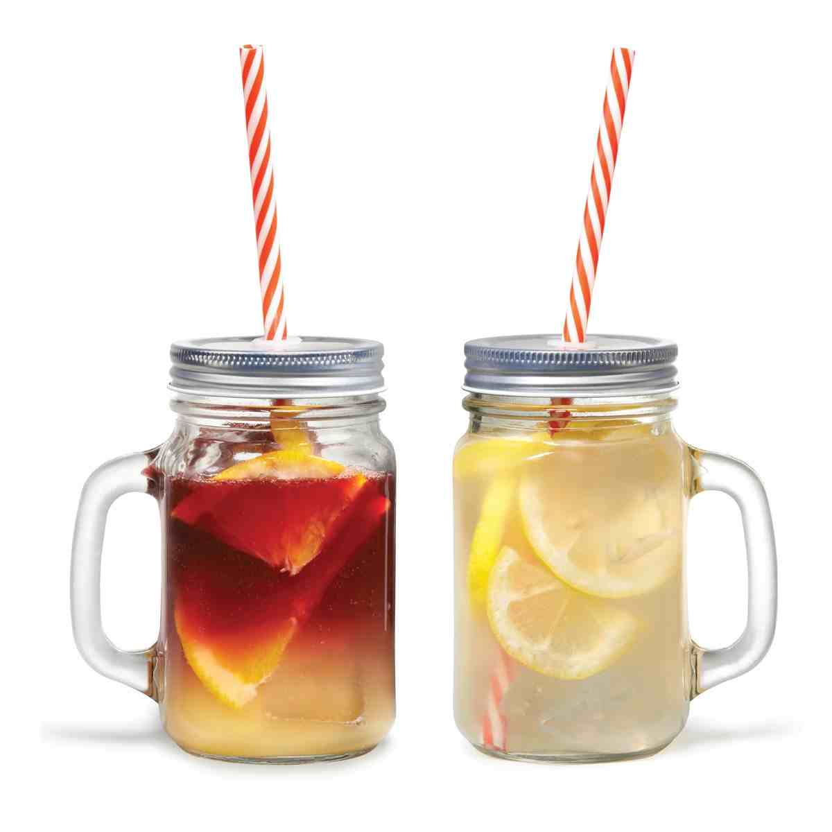 Mason Jar Mugs with Straws | Set of 2