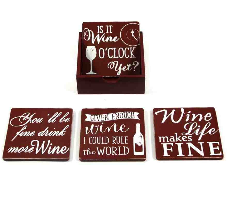 Red Wine-Saying Coasters with Tray | Set of 4