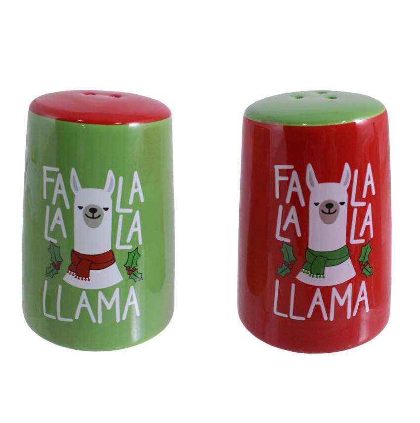 Festive Llama Salt & Pepper Shakers