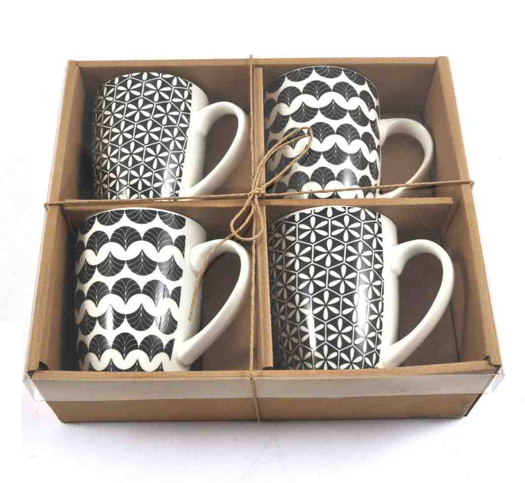 Black & White Mugs | Set of 4