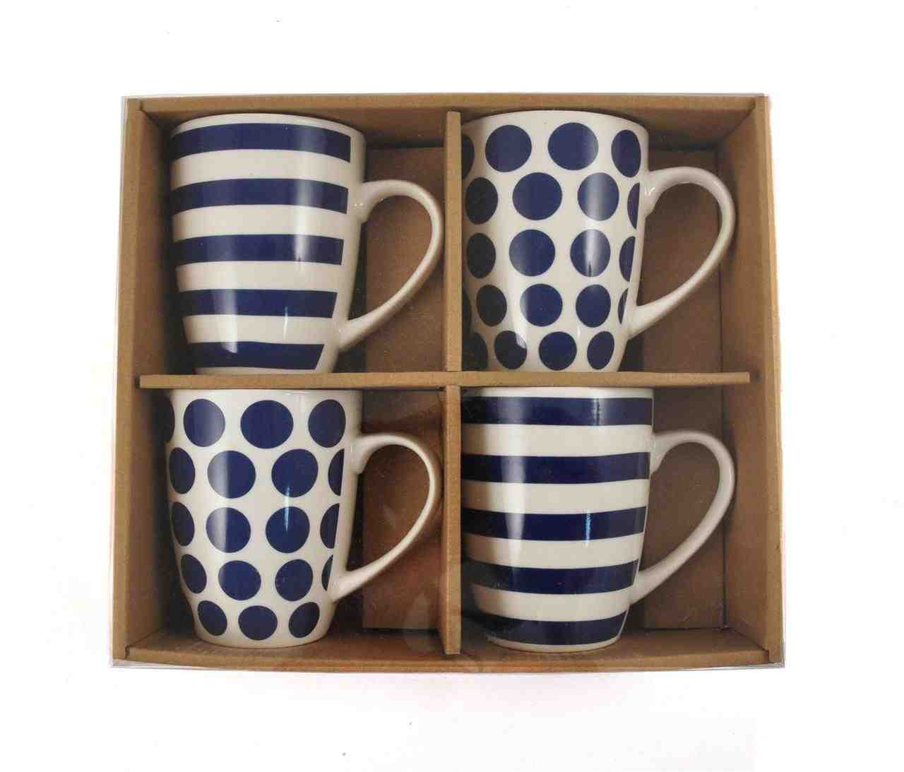 Blue Stripes & Polka Dots Mugs | Set of 4