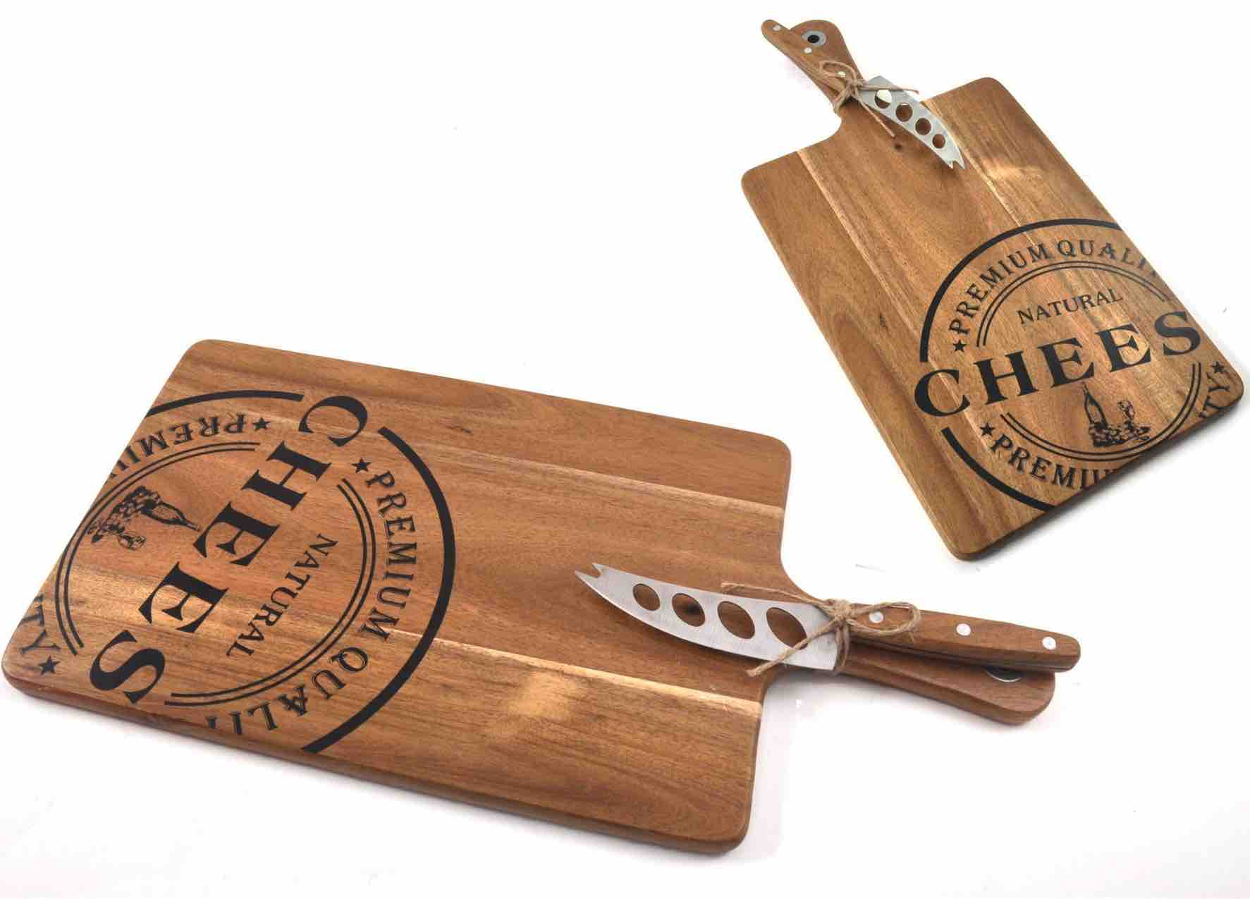 Acacia Wood Cheese Cutting Board with Cheese Knife