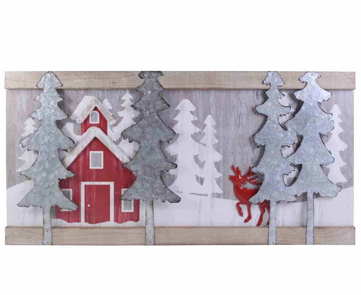Christmas Wall Sign | Reindeer & House Scene