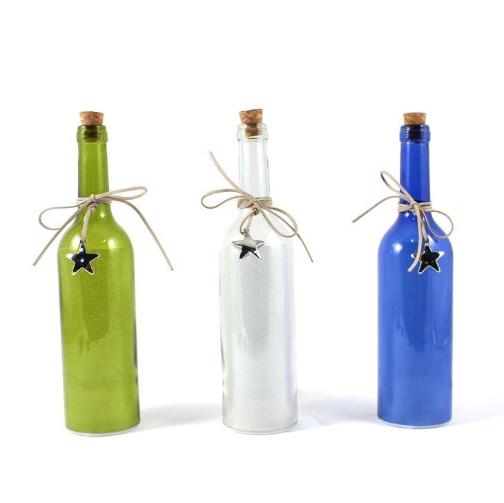 Shimmer LED Lit Wine Bottle | Home Decor