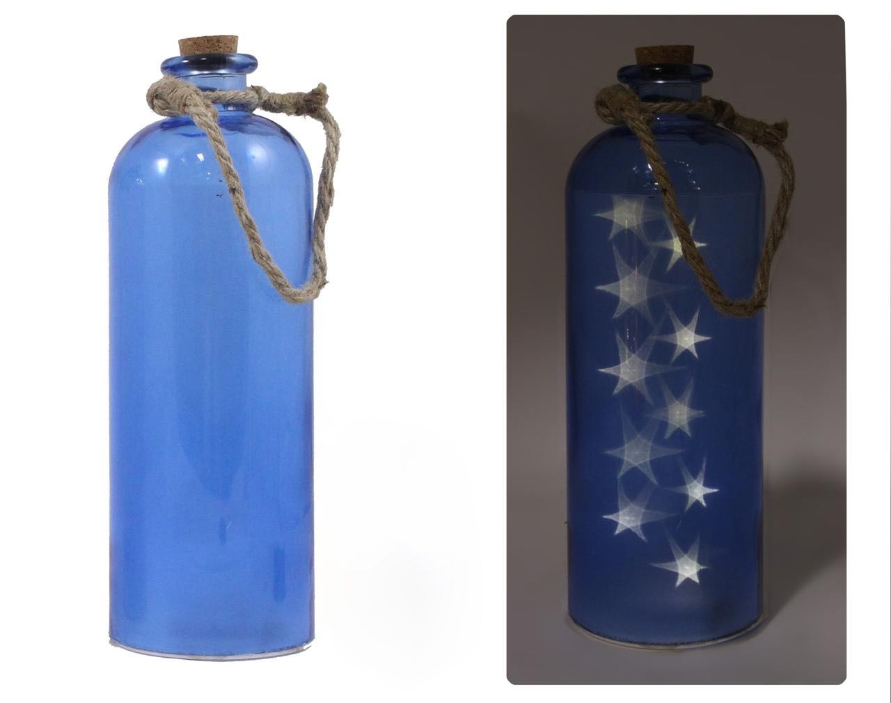 LED Blue Bottle with Star Reflections