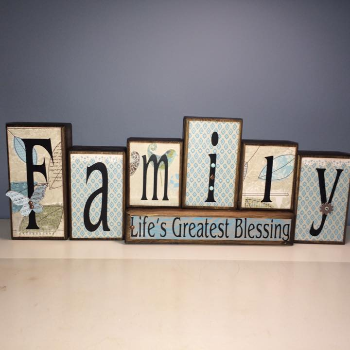 Custom Wood Block Sign - Family