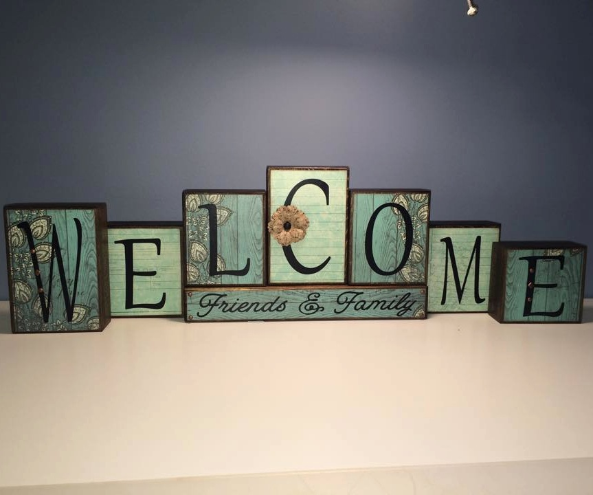 Custom Wood Block Sign - Welcome