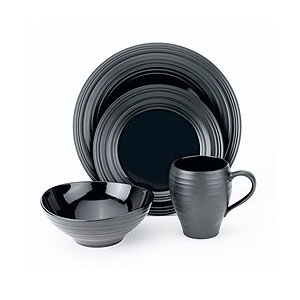 Mikasa Dinnerware Swirl Black 4 pc Place Setting